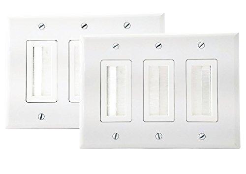 Ic Brush (iMBAPrice White 3 Gang Decora Brush Wall Plate with Brush Bristles)