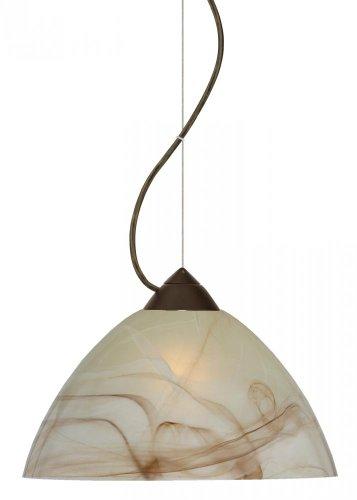 Besa Lighting 1KX-420183-LED-BR 1X6W GU24 Tessa LED Pendant with Mocha Glass, Bronze Finish
