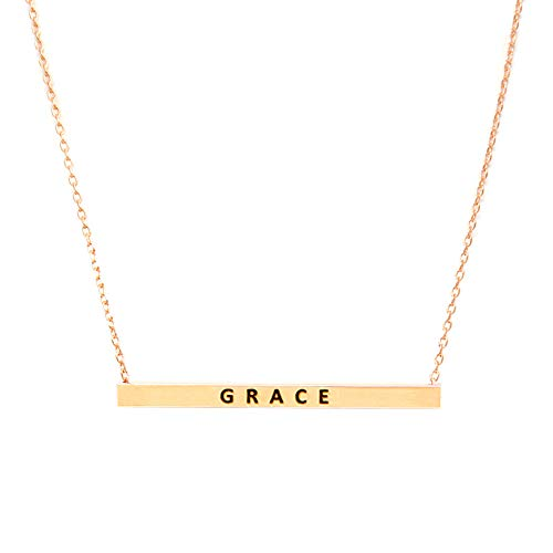 Me Plus Women Gold Dipped Horizontal Inspirational Phrases Engraved Bar Pendant Necklace (Grace-Rose Gold) ()