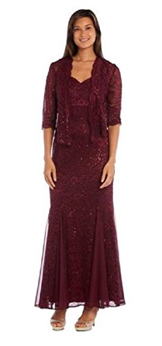 R&M Richards Long Mother Of The Bride Fully Lace Dress Jacket