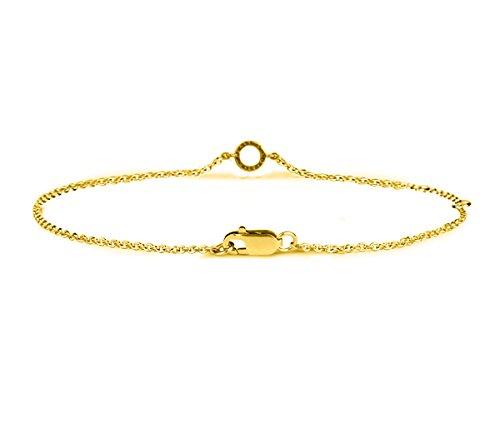 Or Jaune 9 ct Bracelet Diamant en forme de rond, 0.05 Ct Diamant, GH-SI, 1.54 grammes.