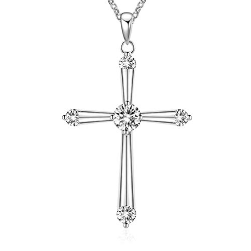 MUATOGIML 925 Sterling Silver Eternal Love Cross Pendant Necklace Religious Jewelry Gifts for Boyfriend - Cross Pendant Necklace Eternal