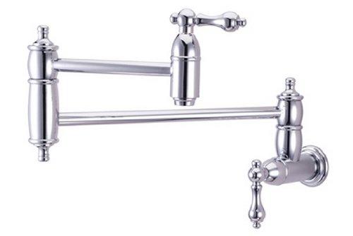 Kingston Brass KS3101AL Pot Filler, Metal Lever Handle, Polished Chrome (Pot Polished Filler Faucet Brass)