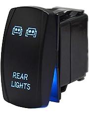 DaSen Universal Rear Light Rocker Switch ON-Off Toggle 5pin 20A/12V Blue Fit Most Polaris RZR SUV Can-am Honda Yamaha Jeep ATV UTV Truck