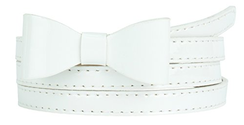 - Womens Stylish Faux Patent Leather Skinny Belt with Mini Bow Accent (M(30.5