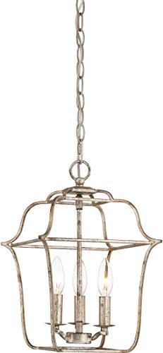 (Quoizel GLY5203CS Gallery Lantern Foyer Pendant Lighting, 3-Light, 180 Watts, Century Silver Leaf (15