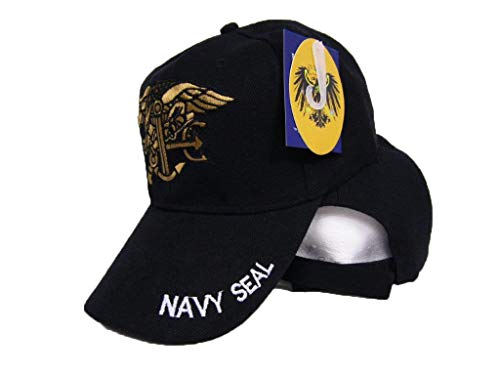 (Deluxe U.S. Naval Navy USN Seal Team Warfare Trident Insignia Ball Cap HAT Cover)