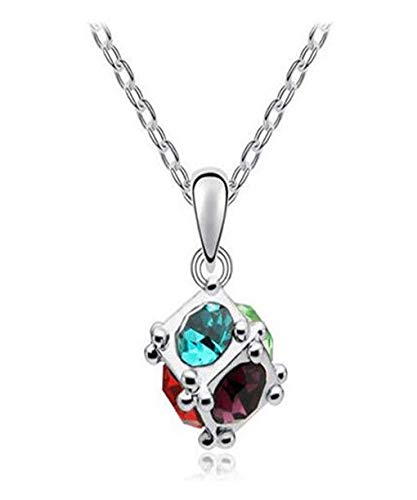 New Womens Cube Mixed Crystal Rhinestone Silver Chain Pendant Necklace Charm -