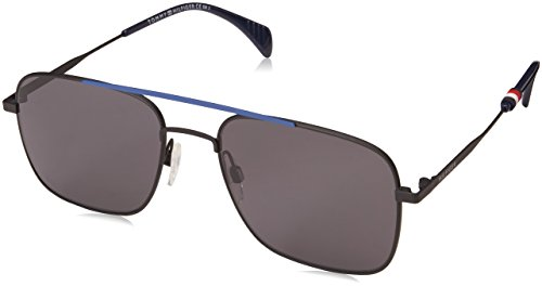 Tommy Hilfiger Men's Th1537s Square Sunglasses, Bkbluflw, 55 mm