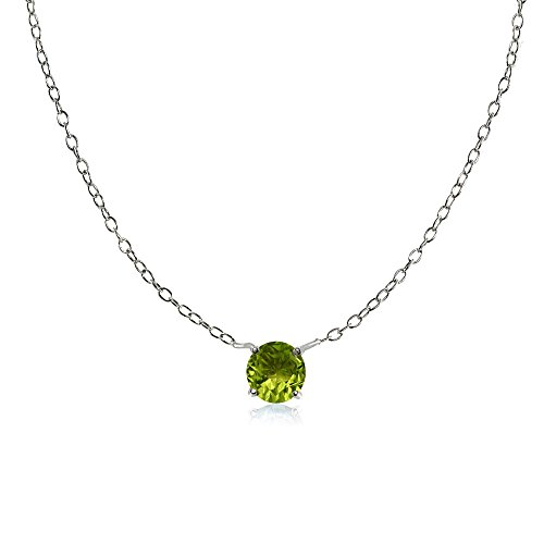 Sterling Silver Small Dainty Round Peridot Choker - Charm Peridot Sterling Silver