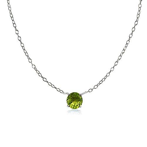 Sterling Silver Small Dainty Round Peridot Choker Necklace