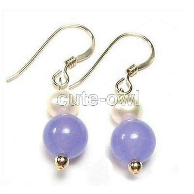 (FidgetGearBeautiful Natural Jade/Gemstone Drop/Dangle Leverback Earrings 35.Pearl&Lavender Jade )