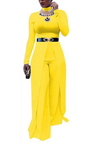 Formal Pant Suit - MarcoJudy Womens Mock Neck Cocktail Dress Wide Leg Maxi Rompers Semi Formal Jumpsuit (Without Belt)