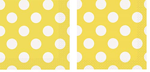 Unique Industries Yellow Polka Dot Paper Napkins, 16ct with Yellow Polka Dot Beverage Napkins, 16ct -