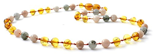 BoutiqueAmber Baltic Amber Teething Necklace Made with Labradorite and Sunstone Beads - Size 14.2 inches (Honey / Labradorite / Sunstone, 14.2 inches) ()