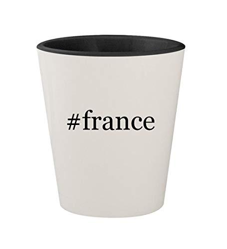 #france - Ceramic Hashtag White Outer & Black Inner 1.5oz Shot Glass