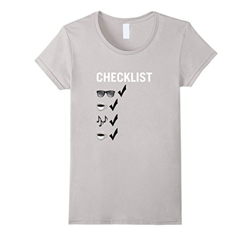 Women's Checklist T-Shirt for a Road Trip: Coffee, Music, and Coffee XL - Roadtrip Checklist