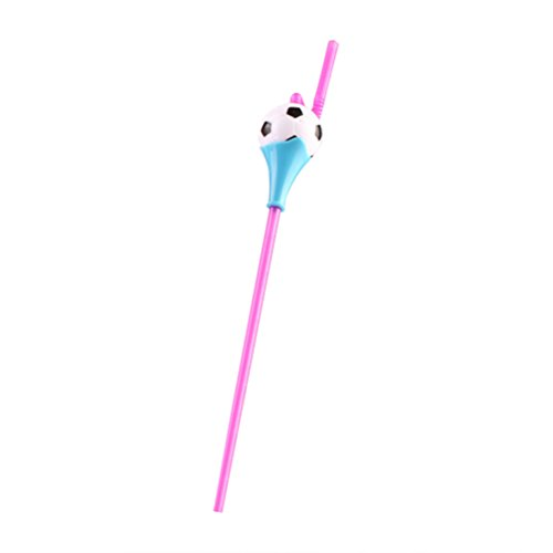 (BESTOYARD DIY Plastic Bendy Disposable Straws Eco-Friendly Flexible Football Shape Drinking Sucker (Random Color))