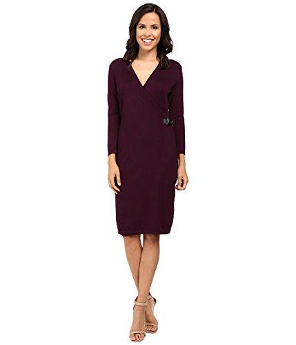Calvin Klein Women's Long Sleeve Mock Wrap Sweater Dress, Aubergine 16, Small