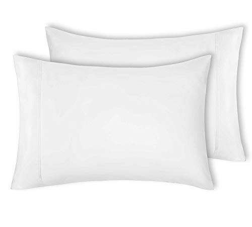 - 400 Thread Count 100% Cotton Pillow Cases, Pure White Standard Pillowcase Set of 2, Long-Staple Combed Pure Natural Cotton Pillows for Sleeping, Soft & Silky Sateen Weave Bed Pillow Covers