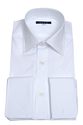 落ち着いて鯨災害[オジエ] ozie【ワイシャツ?カッターシャツ】レギュラーフィット?袖後付け立体パターン?超長綿カリビアンコットン120番手?ダブルカフス/カフスボタン付?ワイドカラー?ブロード無地?日本製 ホワイト白シャツ