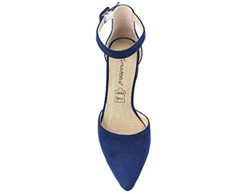 Cheville Chaussures Sandales Talon Femmes Bout Cour Bleu Pointu Bloc Lanières Mid Greatonu YSB7wqnzaa