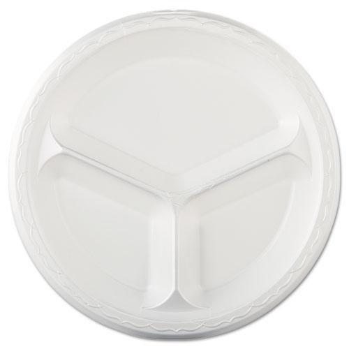 GNPLAM13 - Elite Laminated Foam Plates, 10 1/4quot;, White, Round, 3 Compartments, 125/pack