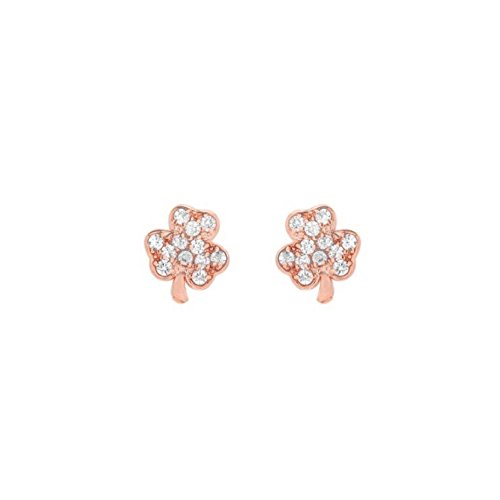 Shamrock Cluster (Mini Mini Jewels 14k Rose Gold Dazzling Diamond Cluster Lucky Irish Shamrock Clover Earrings)