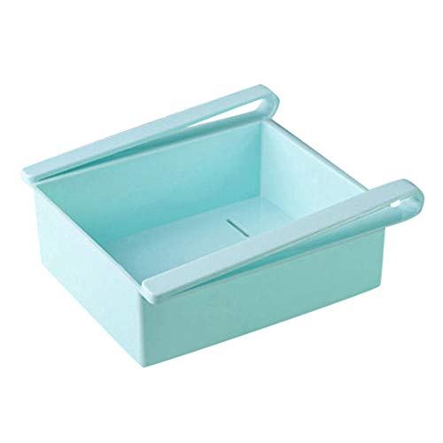 (Quaanti Hot Sale Slide Kitchen Fridge Freezer Space Saver Organizer Storage Rack Shelf Holde Drawer Kitchen Fridge Storage Boxes (Blue))