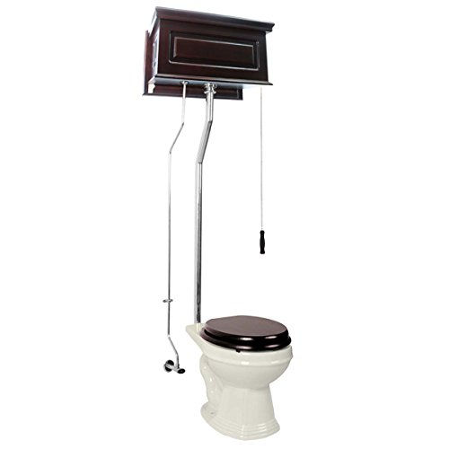 Dark Oak High Tank Pull Chain Toilet With Round Biscuit Chrome Toilet Bowl Pull Chain - Pull Round Toilet Chain