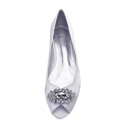 Elobaby Ivoire Satin Dames Chaussures 5 7 8 On Nuptiales Mariage Sparkly 3 Slip Taille Strass 9 Pompes Prom Femmes 6 4 rxCdeoB