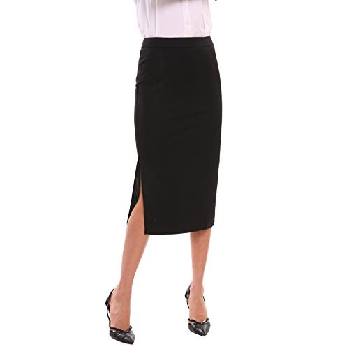 209798f35 chic Zeagoo Women's Below the Knee Stretch Midi Pencil Skirt for Office  Wear Plus Size