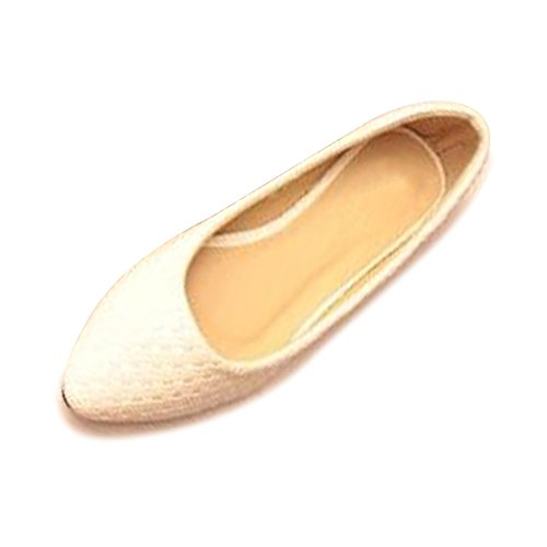 OCHENTA Bailarinas Mujer PU Ocasional Básica Plano Zapatos Chica Blanco