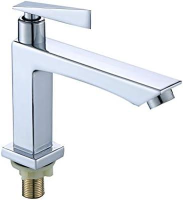 1個の亜鉛合金盆地シンク水タップシングルコールドソリッド蛇口洗面所のための浴室の洗面台の蛇口滝の蛇口 (Color : Silver)