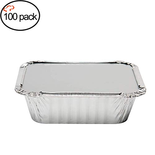 """Tiger Chef Oblong Aluminum Tin Foil 1 Pound Pans Dimensions: 5.56"""" X 4.56"""" X 1.63"""" With Board Lids Disposable Freezer to Oven Safe for Takeout, Baking, Cooking, Storing and Freezing - 100 Pack"""