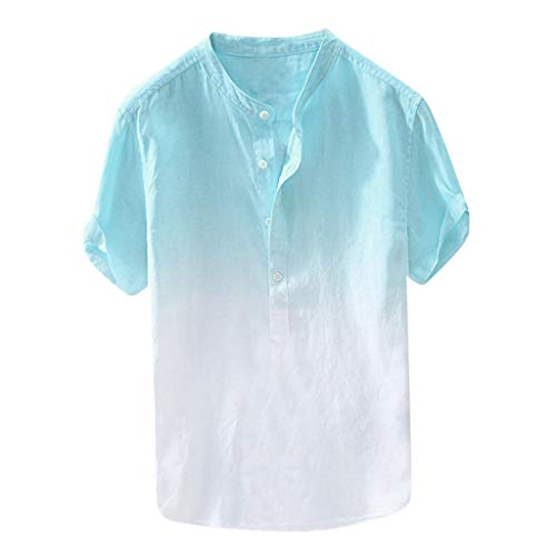 iTLOTL Summer Men's Cool and Thin Breathable Collar Hanging Dyed Gradient Cotton Shirt(XX-Large,Blue)