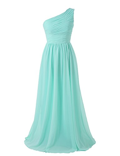 Mint Long (Kiss Dress Women's Long Bridesmaid Dresses One Shoulder Chiffon Evening Gowns (L, Mint))