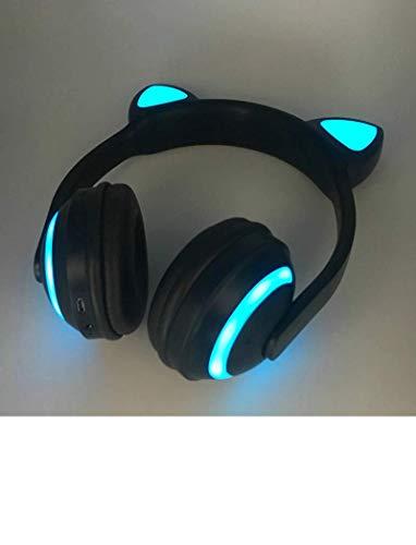(Bluetooth Stereo Cat Ear Headphones Flashing Glowing cat Ear Headphones Gaming Headset Earphone 7 Colors LED Light)