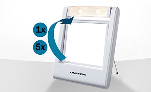 Ovente Lightweight Travel Lighted Vanity Mirror, 1x/5x Magnification, White