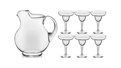 Libbey 7-Piece Cancun Margarita 1 of 89 oz Pitcher and 6 of 9 oz Glassware Set