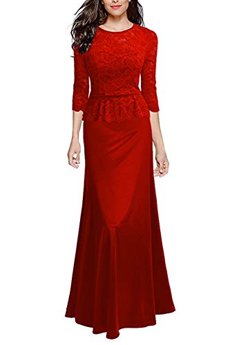 SEBOWEL Women's Retro Floral Lace Evening Gown Slim Peplum Party Wedding Maxi Dress Red L (Prom Slim Gown)