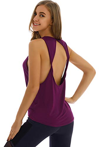 Fihapyli Womens Twist Open Back Yoga Shirts Activewear Sleeveless Workout Tops Sports Tanks Yoga Tops