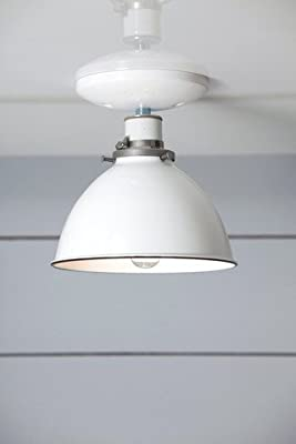 White Enamel Shade Light Metal Ceiling Lighting