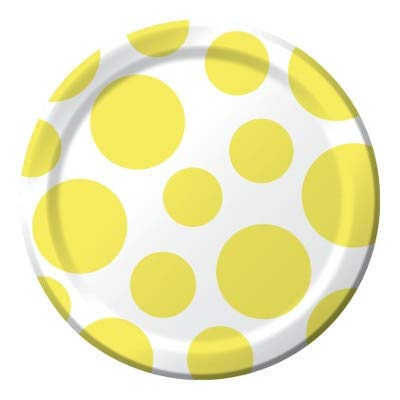 Mimosa Chevron Dots Dessert Plates - 7in (8 Pack) - Party Supplies