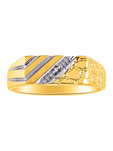 (Rylos Classic Genuine Diamond 1/2 Nugget Ring Set in Yellow Gold Plated Silver 925 Two Tone)