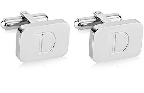 - White-Gold Plated Monogram Initial Engraved Stainless Steel Man's Cufflinks With Gift Box -Personalized Alphabet Letter's By Lux & Pier (D- White Gold)