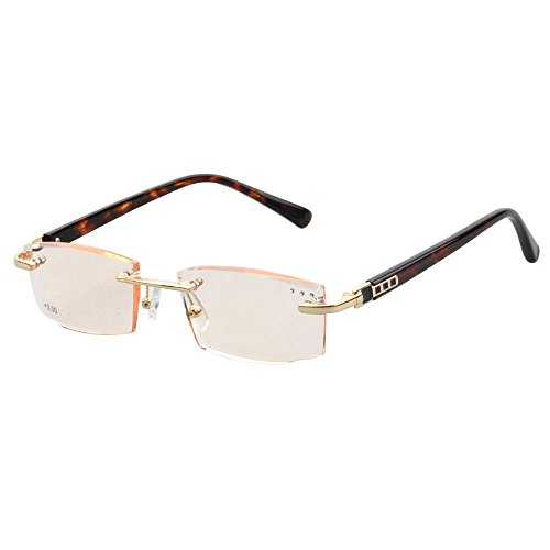 3056 Rimless Unisex Trimming Reading Eyeglasses with ADD from +100 to +400 (amber, - Eyeglass Prescription Add
