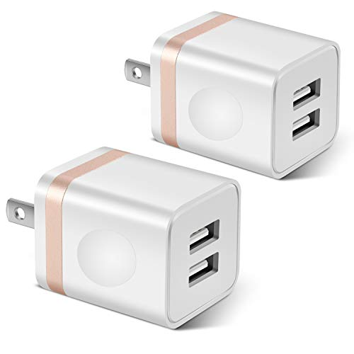 (STELECH USB Wall Charger, 2-Pack 2.1A/5V Dual Port USB Plug Power Adapter Charger Block Cube Compatible with Phone Xs Max/Xs/XR/X/8/7/6 Plus/SE/5S/4S, Samsung, LG, Moto, Kindle, Android Phone -White)