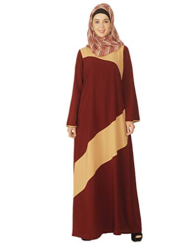Modest Forever Simple Maroon and Beige Abaya Burkha for Women