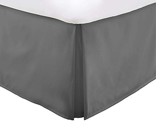 Vera Nice Bed Skirt with 15-inch Drop - Double Brushed Microfiber Pleated Dust Ruffle - Queen - Gray